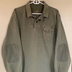 Orvis Long Sleeve Pullover Polo With Elbow Patches
